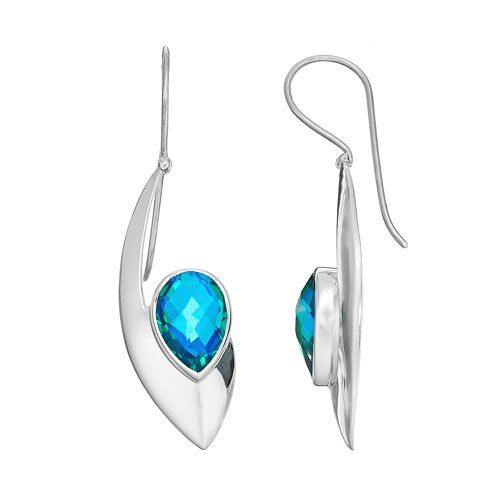 Blue Quartz Sterling Silver Marquise Drop Earrings