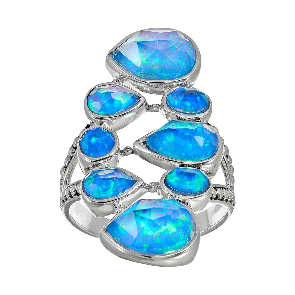 Lab-Created Blue Opal Sterling Silver Geometric Ring