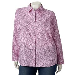 Plus Size Croft & Barrow® Printed Oxford Shirt