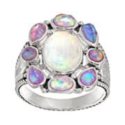 Lab-Created White & Purple Opal Sterling Silver Oval Ring