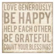 ''Love Generously'' Canvas Wall Art