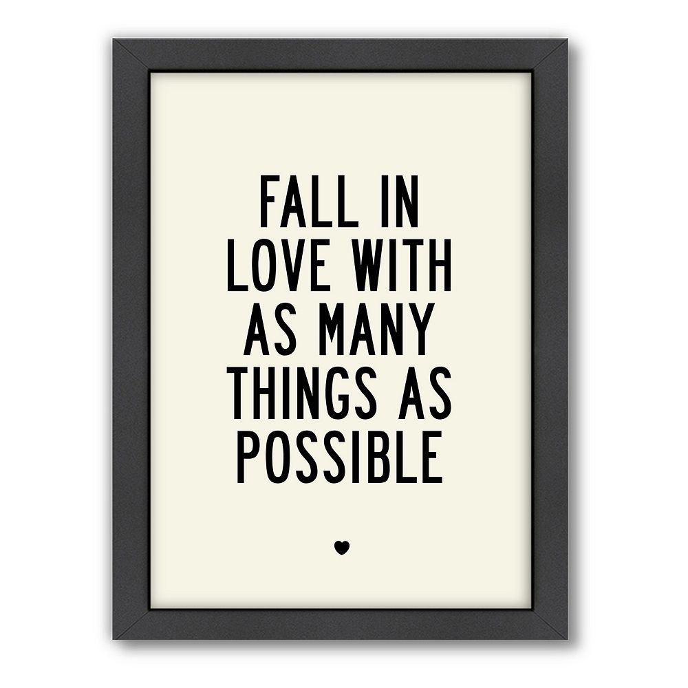 Americanflat Motivated Type ''Fall In Love'' Framed Wall Art