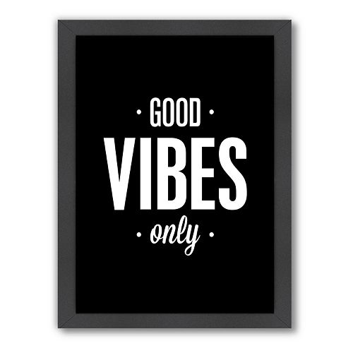Americanflat Motivated Type ''Good Vibes Only'' Framed Wall Art