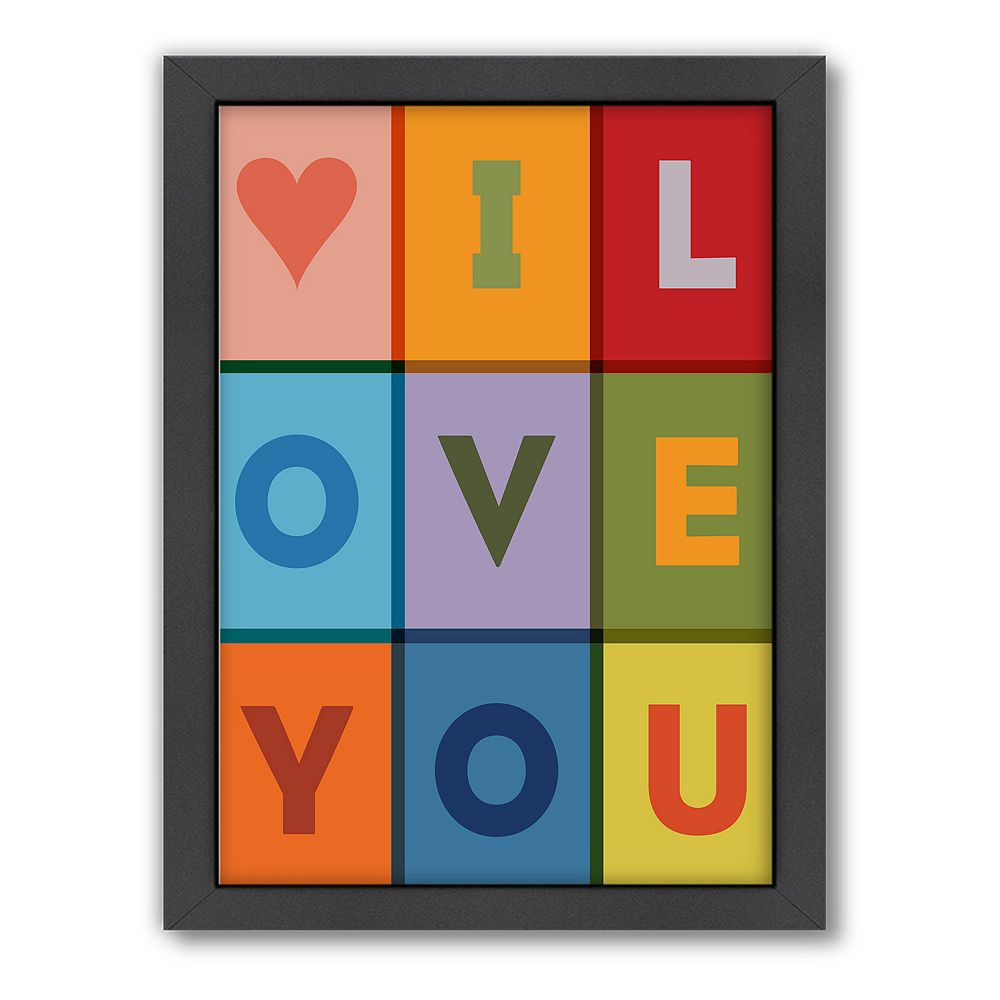 Americanflat Motivated Type ''I Love You'' Framed Wall Art