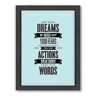 Americanflat Motivated Type ''Dreams'' Framed Wall Art