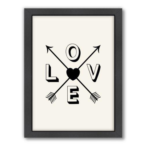 Americanflat Motivated Type ''Love'' Arrow Framed Wall Art