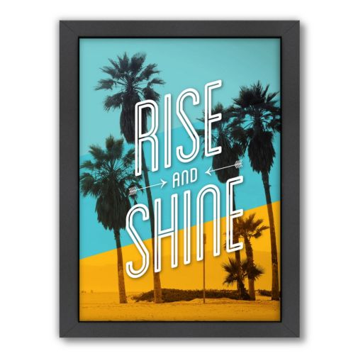 Americanflat Motivated Type ''Rise and Shine'' Typography Framed Wall Art