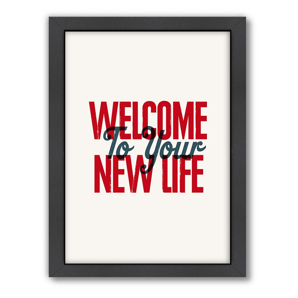 Americanflat Motivated Type ''Welcome'' Typography Framed Wall Art