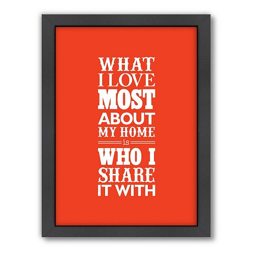 Americanflat Motivated Type ''My Home'' Typography Framed Wall Art