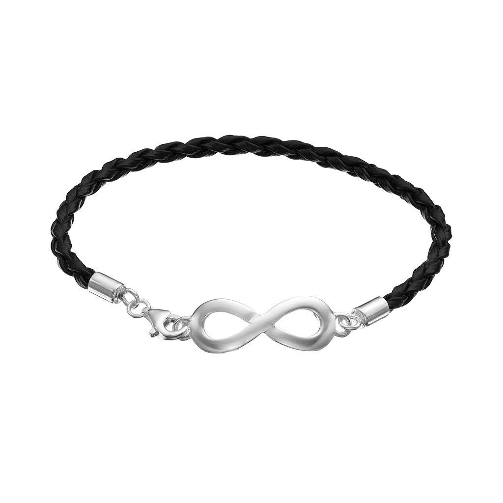 Sterling Silver Infinity Link Woven Leather Bracelet