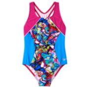 Speedo Freestyle Graffiti Splice One-Piece Swimsuit - Girls 7-16