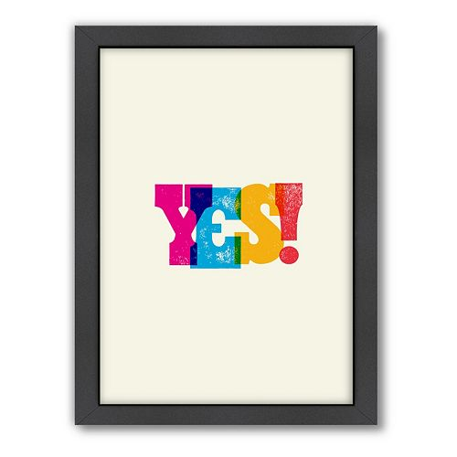Americanflat Motivated Type ''Yes'' Typography Framed Wall Art