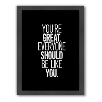 Americanflat Motivated Type ''You're Great'' Typography Framed Wall Art
