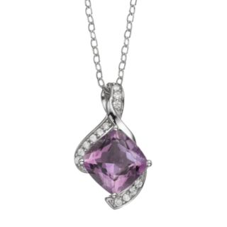 Amethyst & Cubic Zirconia Sterling Silver Bypass Pendant Necklace