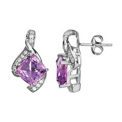 Amethyst & Cubic Zirconia Sterling Silver Bypass Stud Earrings