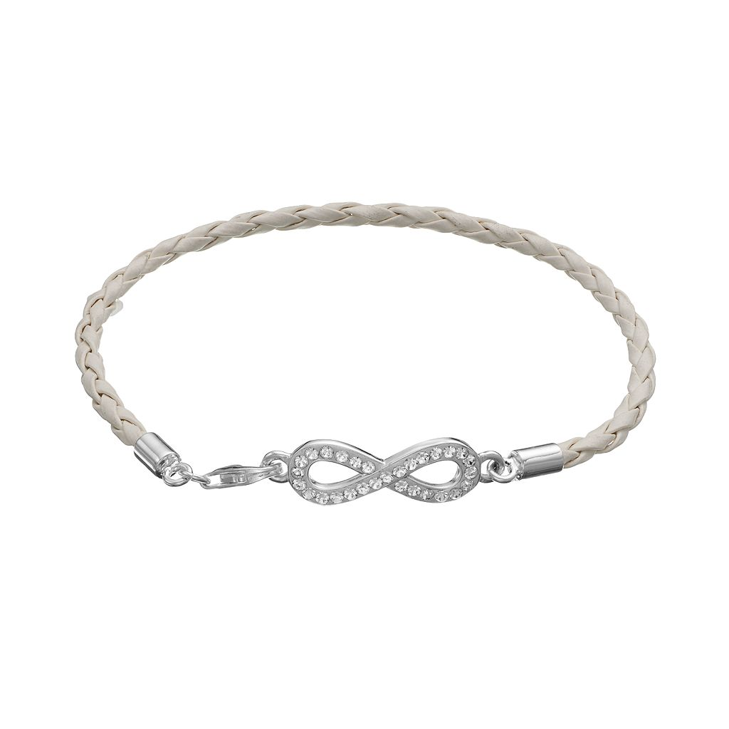 Crystal Sterling Silver Infinity Link Woven Leather Bracelet