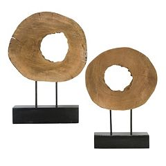 Ashlea 2 pc Wood Sculpture Decor Set