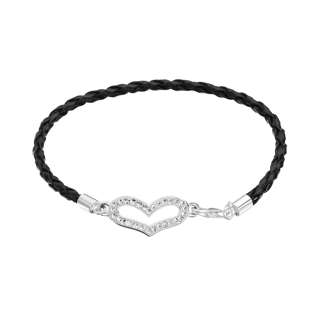 Crystal Sterling Silver Heart Link Woven Leather Bracelet