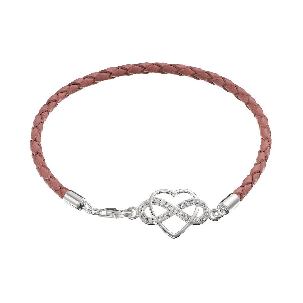 Crystal Sterling Silver Infinity Heart Link Woven Leather Bracelet