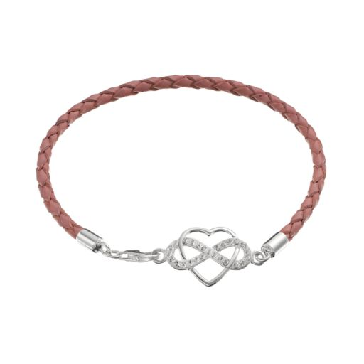 Crystal Sterling Silver Infinity Heart Link Woven Leather Bracelet