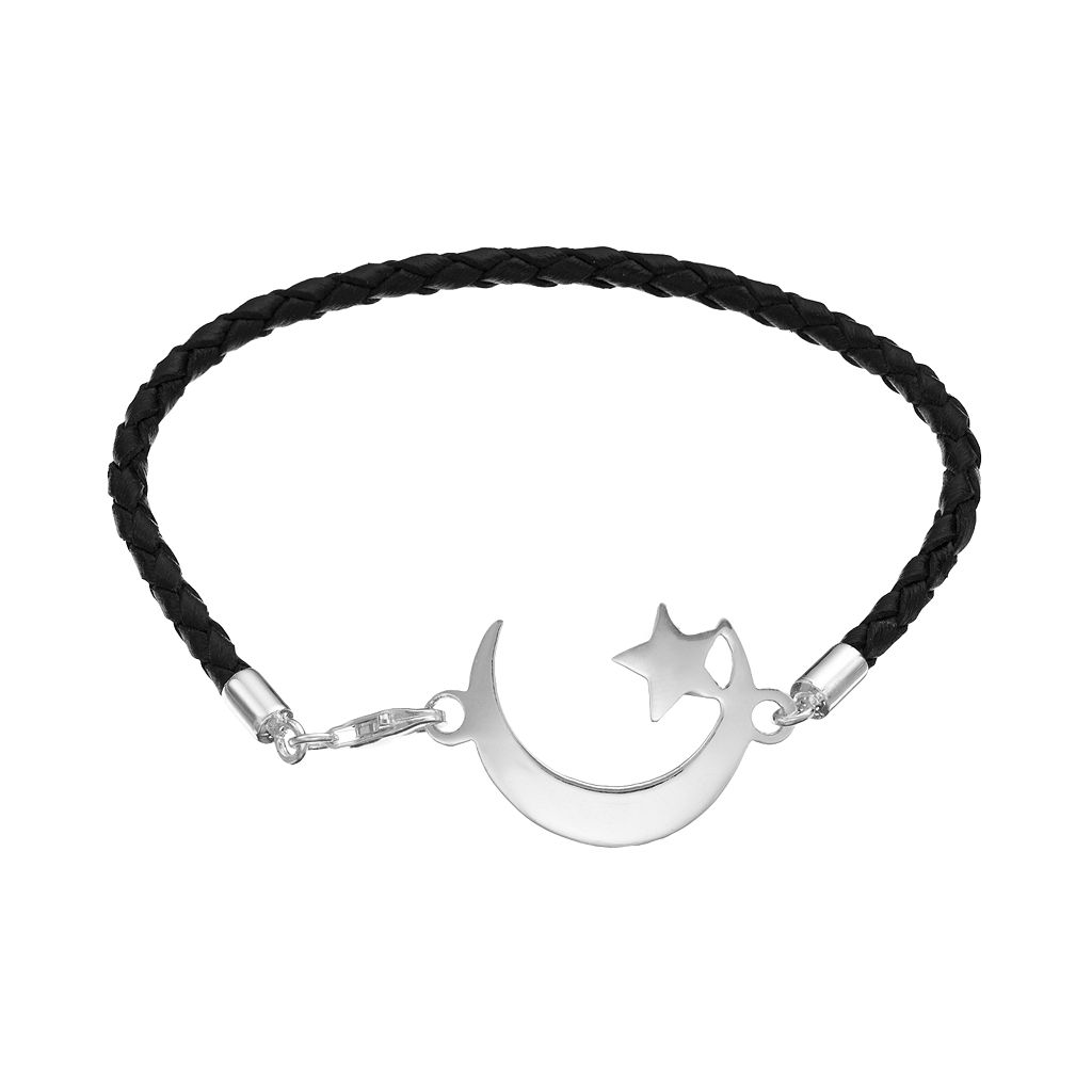 Sterling Silver Crescent Moon Woven Leather Bracelet