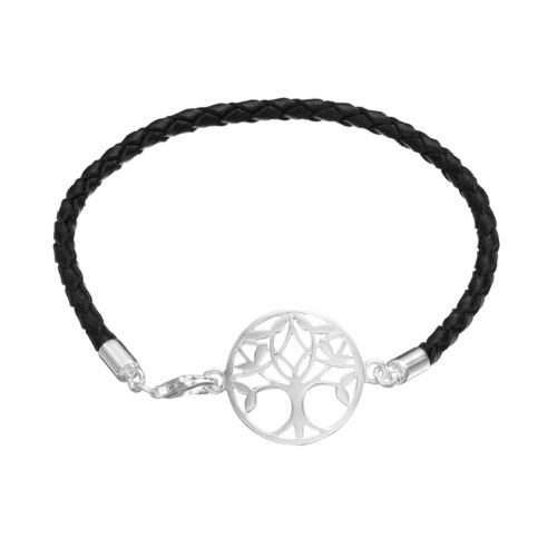 Sterling Silver Tree of Life Link Woven Leather Bracelet