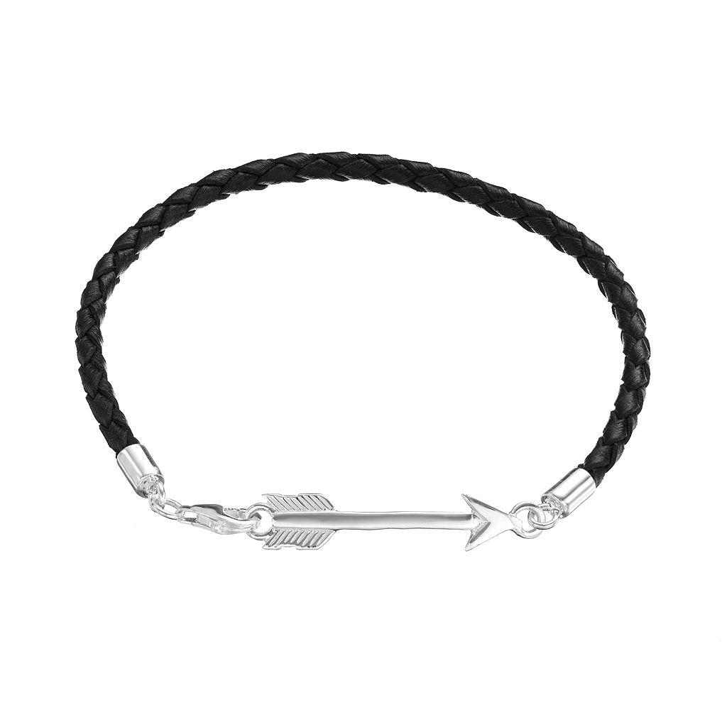 Sterling Silver Arrow Link Woven Leather Bracelet