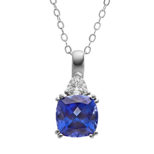 Lab-Created Sapphire & Cubic Zirconia Sterling Silver Square Pendant Necklace