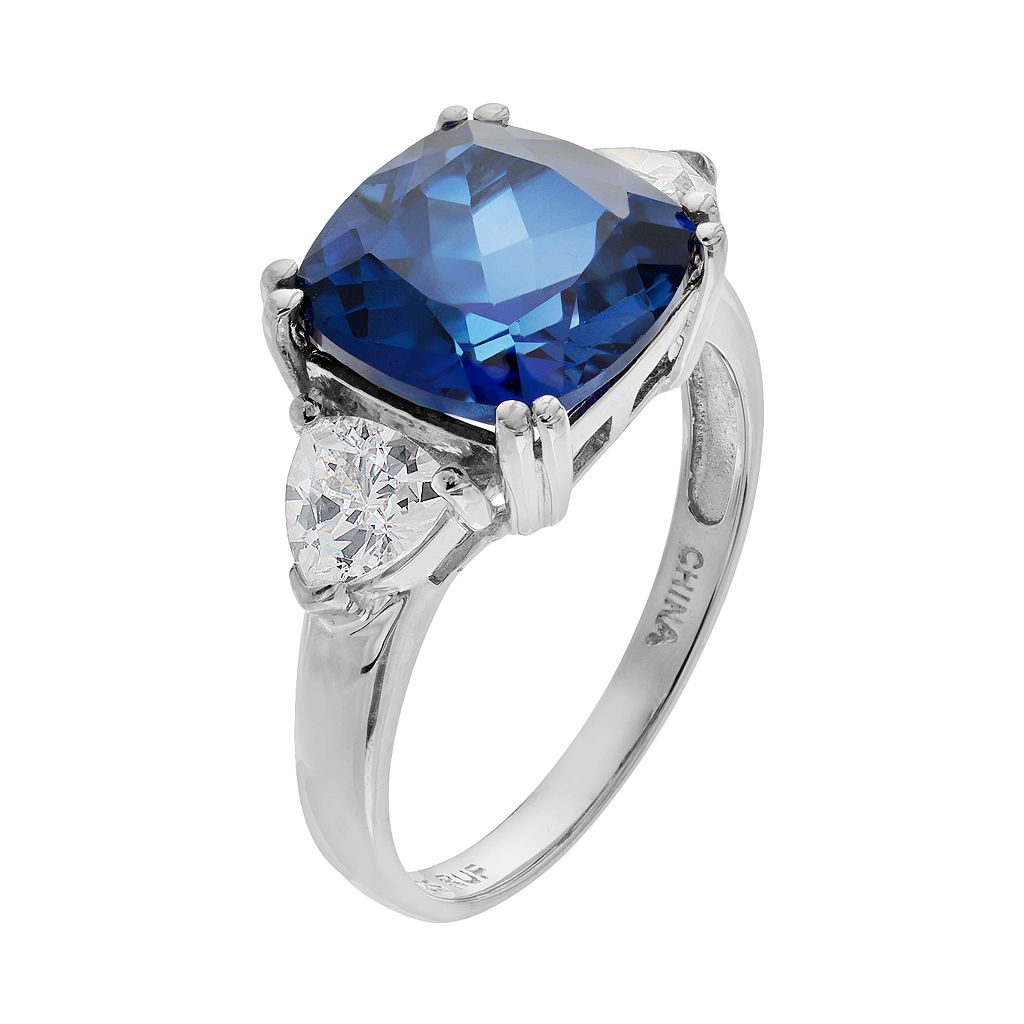 Lab-Created Sapphire & Cubic Zirconia Sterling Silver Square Ring