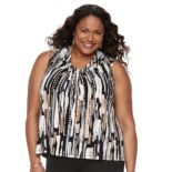 Plus Size Dana Buchman Printed Knot-Front Top