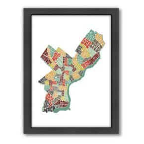Americanflat Joe Brewton Philadelphia Color Typography Framed Wall Art