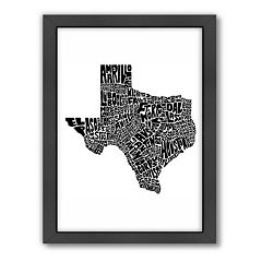 Americanflat Joe Brewton Texas Typography Framed Wall Art