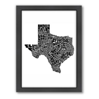 Americanflat Joe Brewton Texas Typography Framed Wall Art