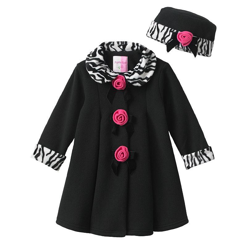 Sophie Rose Rosette Fleece Babydoll Coat - Baby