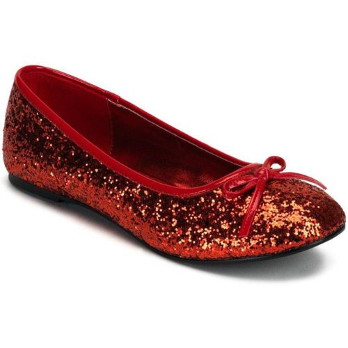 Glitter Star Flat Costume Shoes - Adult