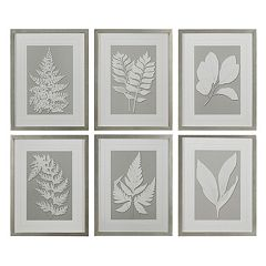 Moonlight Ferns 6 pc Framed Wall Art Set
