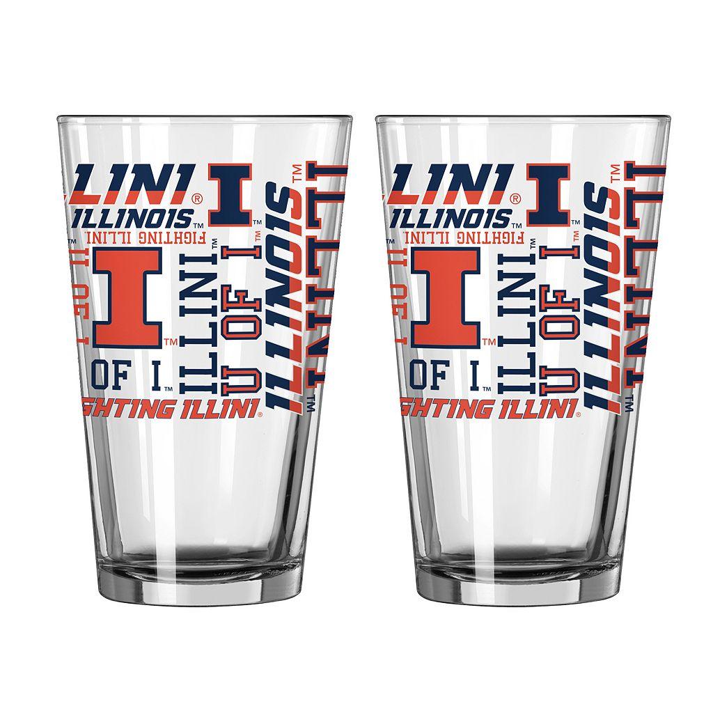 Boelter Illinois Fighting Illini Spirit Pint Glass Set