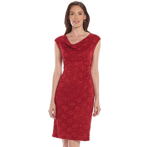 Connected Apparel Sequin Drapeneck Lace Dress - Women's