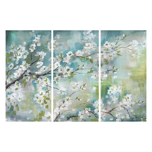 Cherry Blossom Branch 3 Piece Canvas Wall Art Set