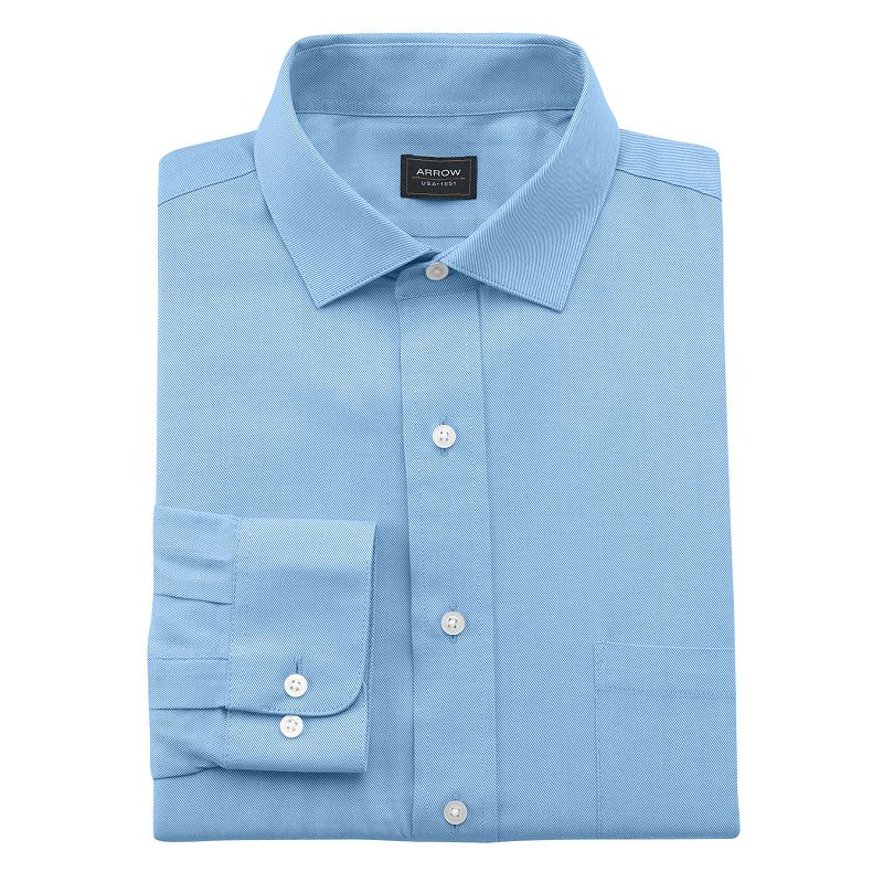 Blue fitted shirt kohl 39 s for Wrinkle free dress shirts amazon