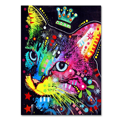 "47"" x 35"" ""Thinking Cat Crowned"" Canvas Wall Art"