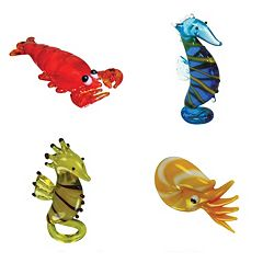 Looking Glass 4 pkLobster, Sea Horse & Nautilus Mini Figurines