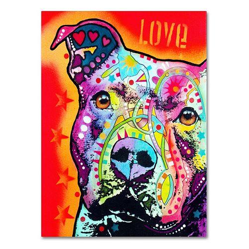 """24"""" x 18"""" """"Thoughtful Pitbull"""" Canvas Wall Art"""