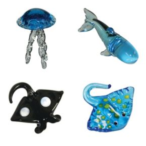 Looking Glass 4-pk. Jelly Fish, Sperm Whale, Manta Ray and Sting Ray Mini Figurines
