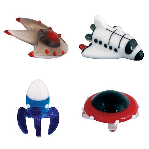 Looking Glass 4-pk. Spaceship, Space Shuttle, Rocket and Flying Saucer Mini Figurines
