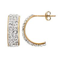 Crystal 14k Gold-Bonded Sterling Silver Semi-Hoop Earrings