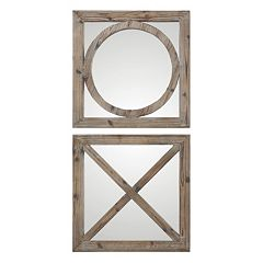 Abbracci 2 pc Wood Wall Mirror Set