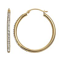 Crystal 14k Gold-Bonded Sterling Silver Hoop Earrings