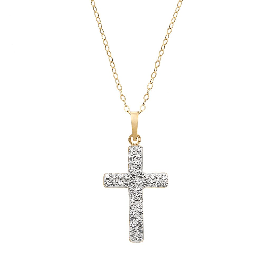 Crystal 14k Gold-Bonded Sterling Silver Cross Pendant Necklace