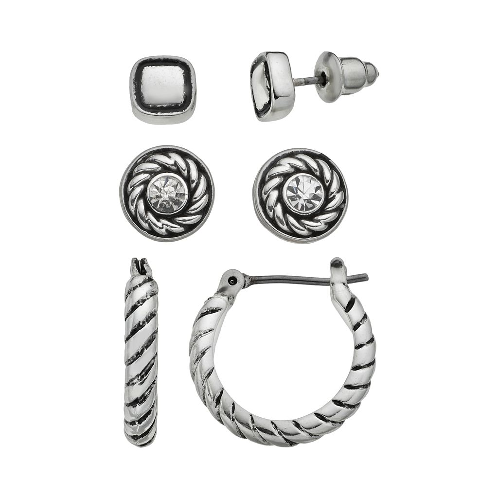 Napier Square & Disc Stud & Twisted Hoop Earring Set